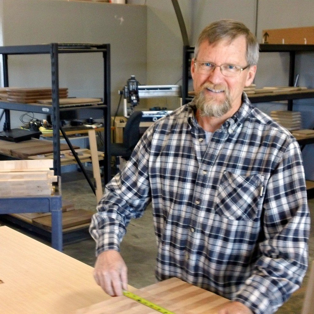 Eric Hardenbrook working in woodshop