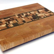 Cherry end grain butcher block with confetti accents of walnut, cherry, maple and mahogany