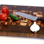 confetti butcher block with viggies and knife