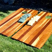 Corn hole game made of cherry wood