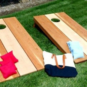 cherry maple and mahogany hardwood corn hole set with bags