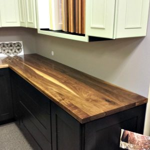 installed walnut counter top