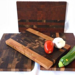 mixed dark wood end grain small butcher blocks