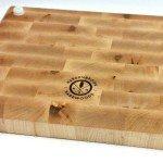 back of maple butcher block showing feet and Hardenbrook Hardwoods brand