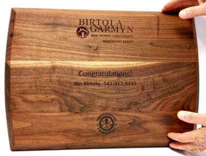 engraving in back of walnut cutting board