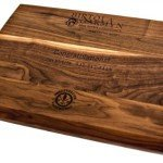 profile of walnut chefs board with engraving