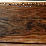 "12"" x 16"" walnut cutting board with personalized engraving"