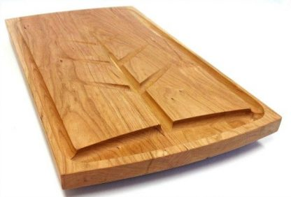 cherry carving board with juice well, grooves and custom engraving