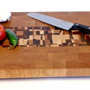 cherry end grain butcher block with confetti accents