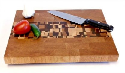 cherry end grain butcher block with confetti accents