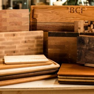 Collection of hardwood cutting boards from Hardenbrook Hardwoods