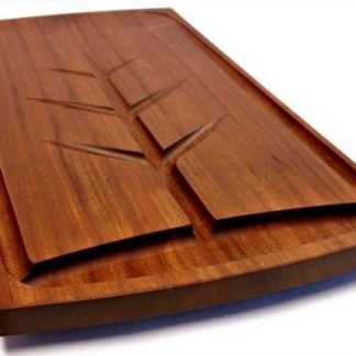 mahogany carving board with juice well, grooves and engraving