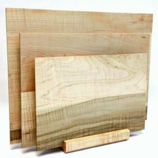 set of three cutting boards made of figured maple