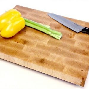 maple end grain butcher block with veggies and knife