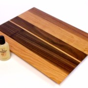 Cherry cutting board with walnut accents