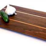 Walnut cheese board with accent stripes