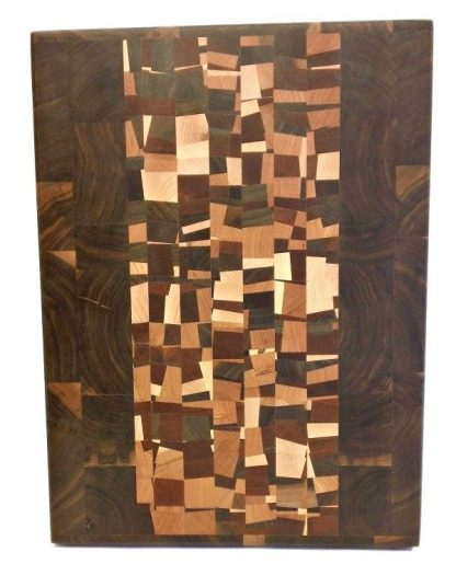 end grain walnut butcher block with confetti accent