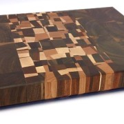 end grain walnut butcher block with vertical confetti accent