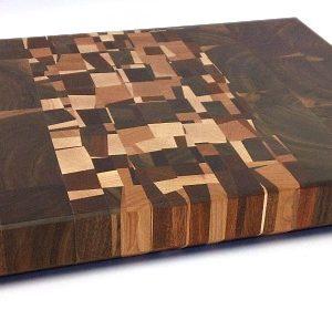 end grain walnut butcher block with vertical confetti accent
