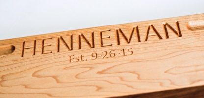 engraved name on a maple cutting board