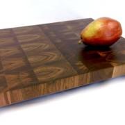 Walnut end grain butcher block with pear.