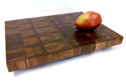 Walnut end grain butcher block with pear.