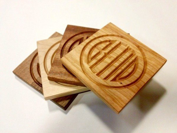 4 coasters in  4 woods