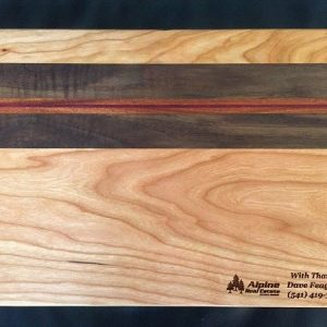 cherry cutting board walnut and purple heart accent stripe