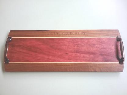 walnut, purple heart, serving board with handles