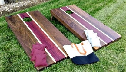 regulation corn hole set made of dark walnut exotic prple heart and maple hardwoods