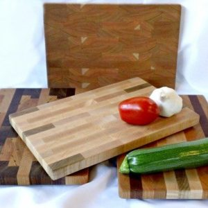 small endgrain butcher blocks in light colored woods