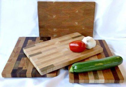 small endgrain butcher blocks in light colored woods