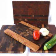 mixed dark wood end grain small butcher blocks
